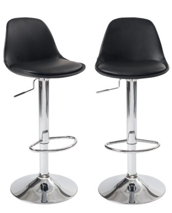 Lot de 2 tabourets de Bar - similicuir PU Noir - Confort - Design