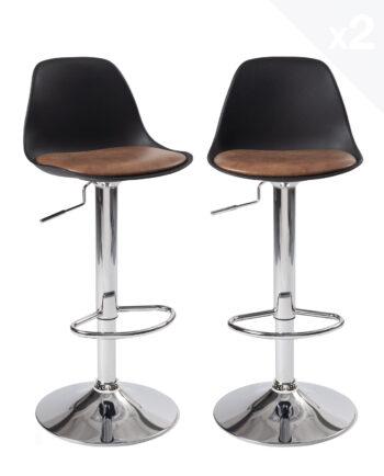 lot2-chaises-hautes-tabouert-bar-design-cuisine-sig-noir-marron