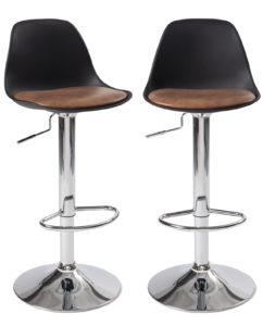 Lot de 2 chaises Hautes - Tabouret de bar design, cuisine - Noir et marron