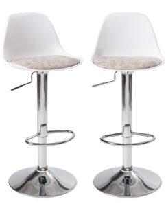 Lot de 2 chaises Hautes - Tabouret de bar design, cuisine - Blanc et Gris