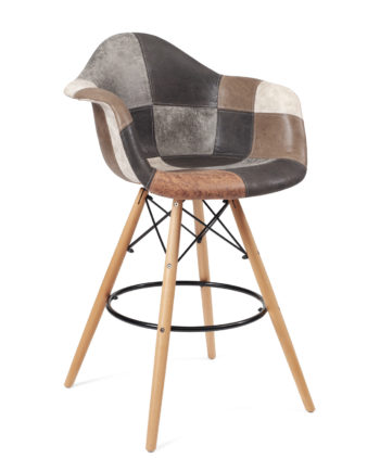chaise haute patchwork marron - bar ou cuisine TIBA