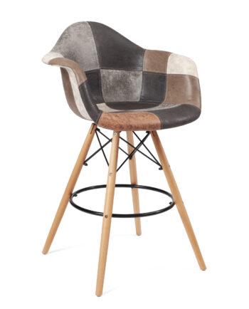 chaise haute patchwork marron - bar ou cuisine TIBA