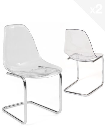chaise-salle-manger-transparent-chrome-design-lot-2-meo
