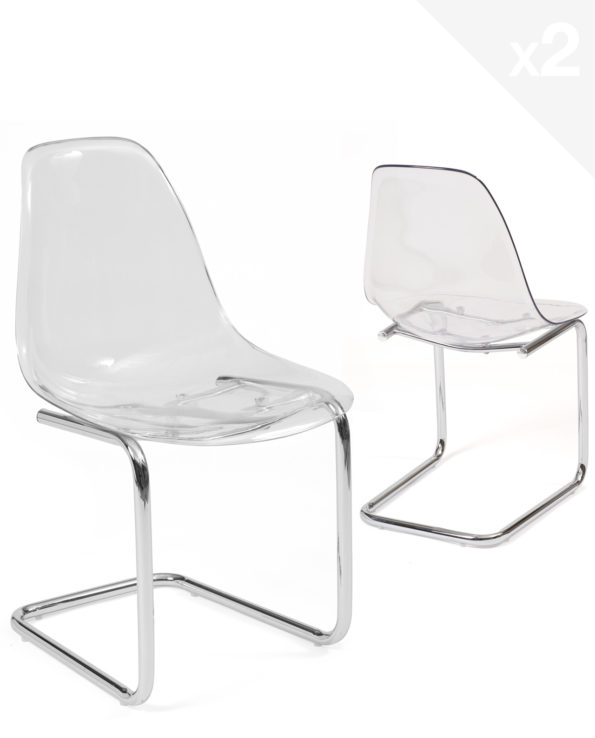 chaise-salle-manger-transparent-chrome-design-lot-2-meo
