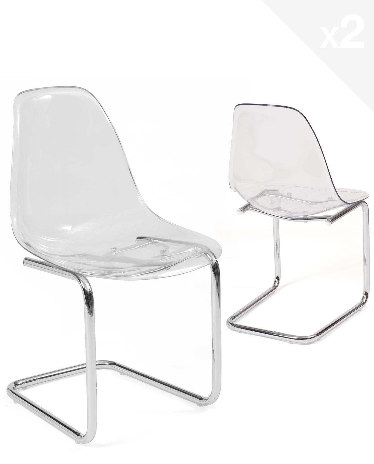 Chaise transparente pied chrome MEO - Lot de 7