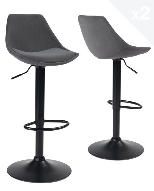 Lot de 2 chaises de Bar Design Velours gris clair - Design contemporain
