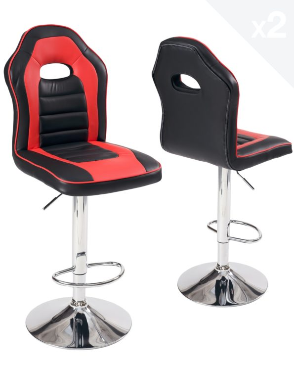 lot-2-chaises-bar-racing-siege-baquet-BENI-noir-rouge