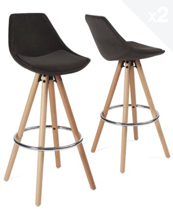 Lot de 2 tabourets de Bar Design Scandinave - Velours gris - SOTO