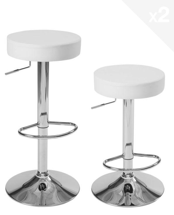lot de 2 tabourets de bar ronds - cuisine - réglables en hauteur, pivotant - Blanc