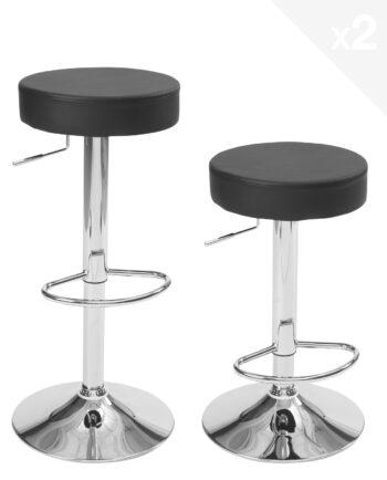 lot de 2 tabourets de bar ronds - cuisine - réglables en hauteur, pivotant - Noir