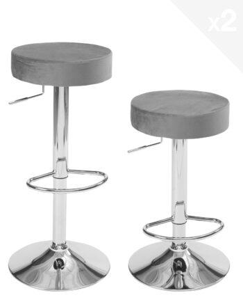 lot de 2 tabourets de bar ronds - cuisine - réglables en hauteur, pivotant - Velours gris
