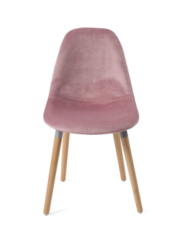 chaise-design-scandinave-bois-velours-rose-lot-4