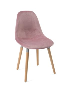 chaise-scandinave-bois-velours-rose-lot-4