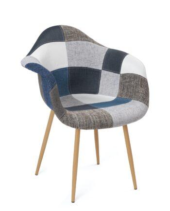 fauteuil-scandinave-patchwork-bleu-gris-novo