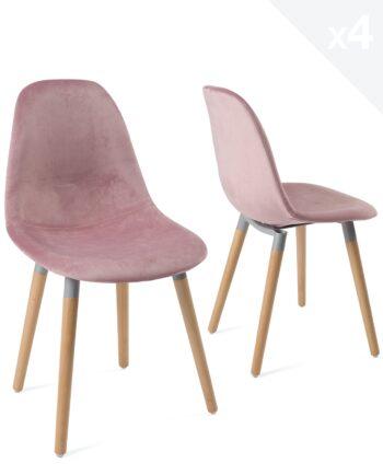 lot-4-chaises-scandinaves-bois-velours-rose