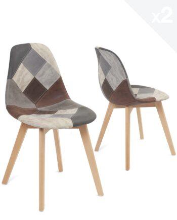 chaise-patchwork-scandinave-lot-2-gris-bleu-similicuir-nada