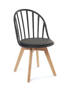 chaise-scandinave-barreaux-coussin-noir-kayelles