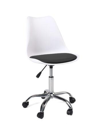 chaise-bureau-design-roulettes-pas-cher-blanc-neo-leo