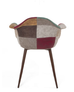 chaise-scandinave-patchwork-PU-marron-kayelles