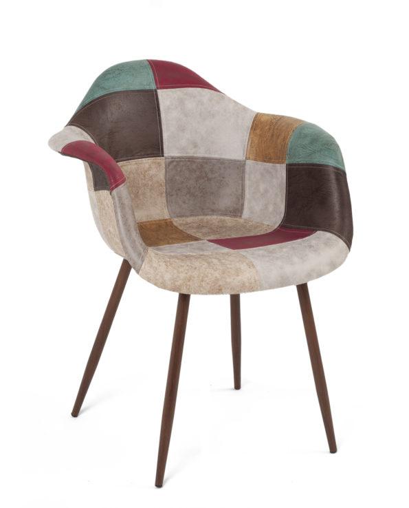 fauteuil-scandinave-patchwork-marron-novo