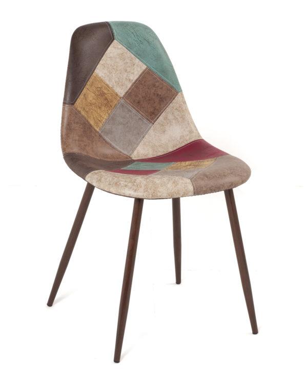 lot-2-chaises-patchwork-marron-simili-design-scandinave-kayelles