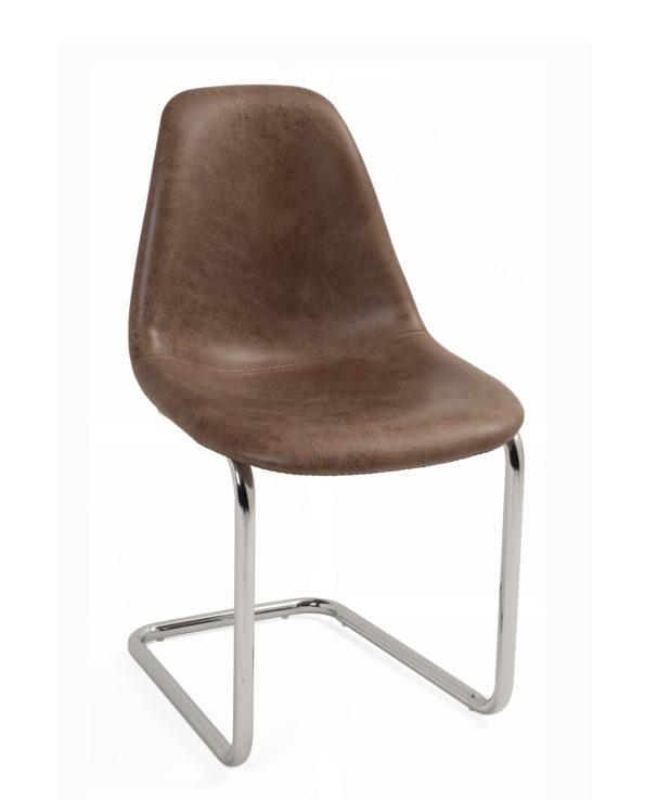 chaise-restaurant-salle-manger-marron-chrome-design-lot-2-meo