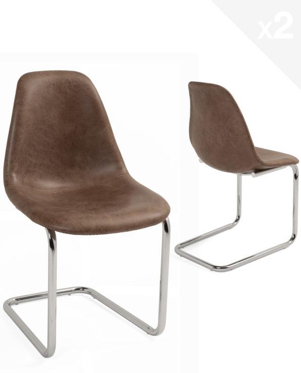 chaise-salle-manger-marron-chrome-design-lot-2-meo
