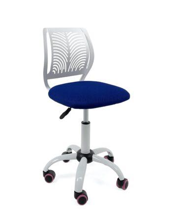 chaise-bureau-roulettes-pas-cher-enfant-ado-blanc-bleu-mesh