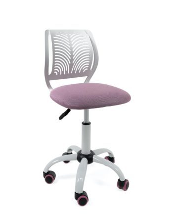 chaise-bureau-roulettes-pas-cher-enfant-ado-blanc-rose-mesh