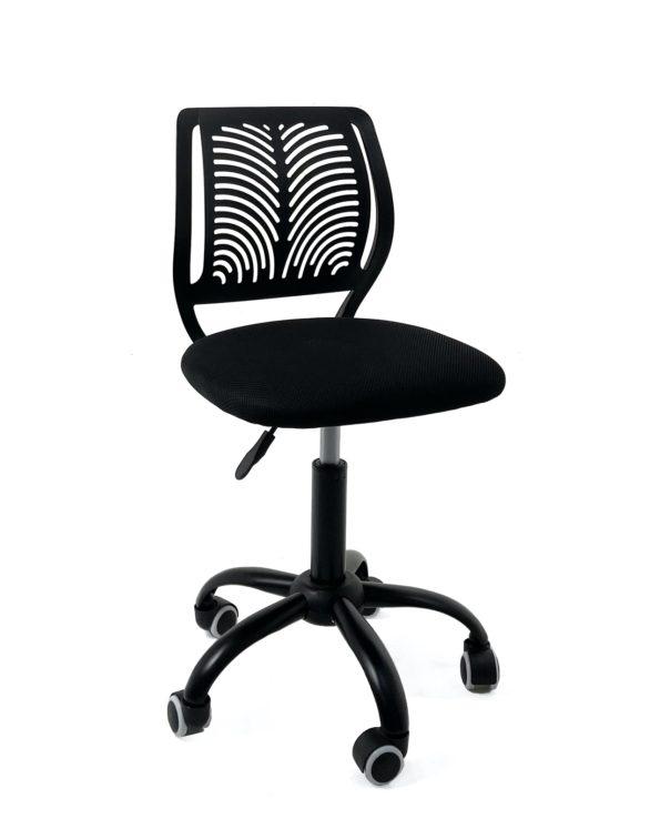 chaise-bureau-roulettes-pas-cher-enfant-ado-noir-mesh