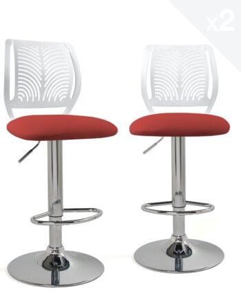 chaises-bar-hautes-dossier-reglable-design-cuisine-blanc-rouge