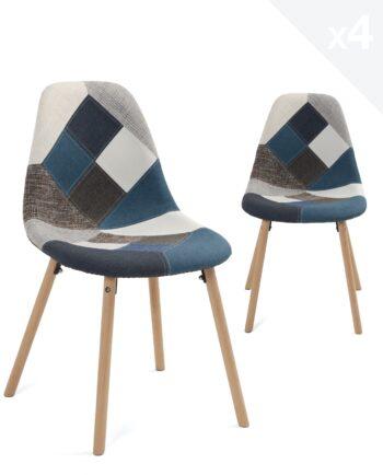 lot-4-chaises-patchwork-bleu-cuisine-salle-manger-bois-kayelles