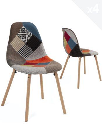 lot-4-chaises-patchwork-cuisine-salle-manger-bois-kayelles