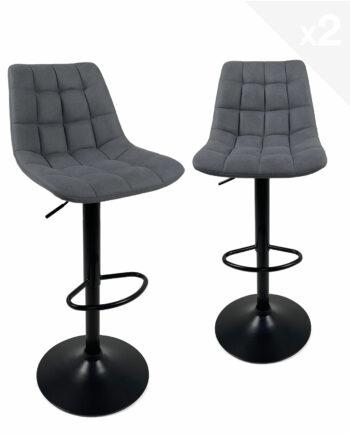 tabourets-design-kayelles-noir-tissu-matelasse-bleu