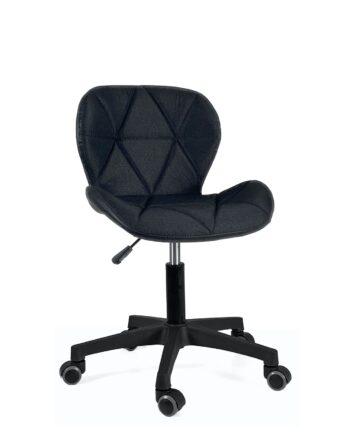 chaise-bureau-design-lina-tissu-noir-pu-noir