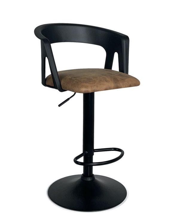 chaise-Bar-cuisine-ergonomique-Lot-2-reglable-accoudoirs-noir-marron