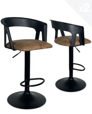 chaises-Bar-cuisine-Lot-2-hauteur-reglable-accoudoirs-dossier-noir-integral
