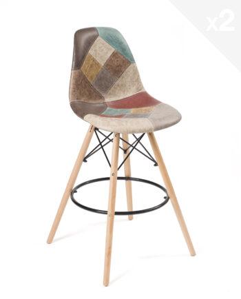 Lot-2-chaises-bar-patchwork-chaises-hautes-marron-Scandinaves-SLEO